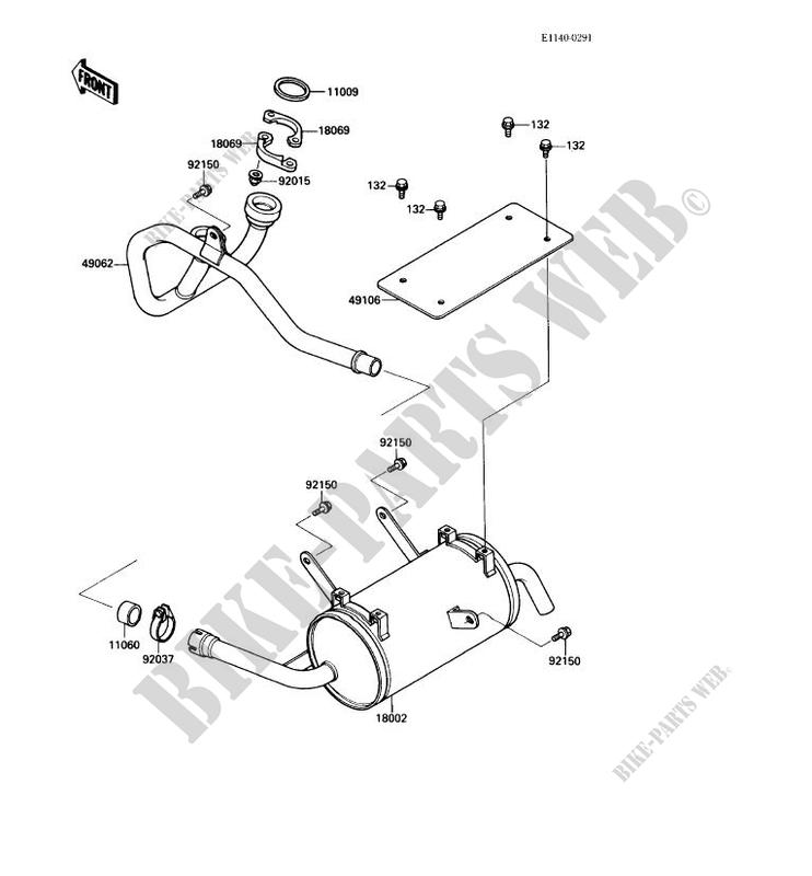 EXHAUST voor Kawasaki MULE 1000 no_year